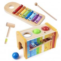 Medinis ksilofonas su plaktuku ir pagaliuku