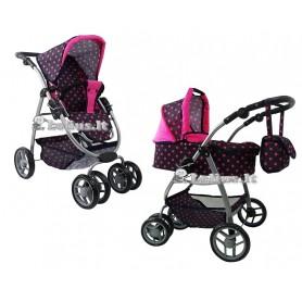 Lėlės vežimėlis Belly (spalva - black dots)