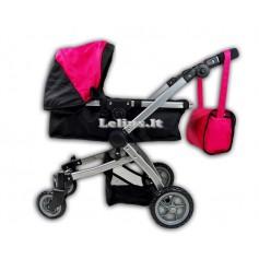 Vežimėlis lėlėms Rossy (spalva - black pink)