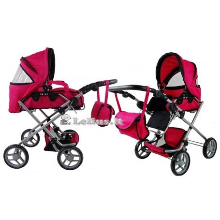 Vežimėlis lėlėms Emmy (spalva - hot pink)
