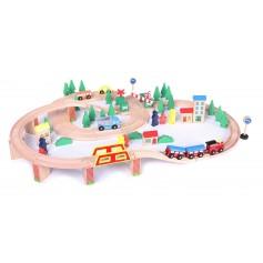 Mediniai bėgiai su elektriniu traukinuku (75 detalės)