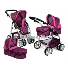 Lėlės vežimėlis Belly (spalva - pink rings)