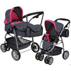 Lėlės vežimėlis Belly (spalva - white dots)